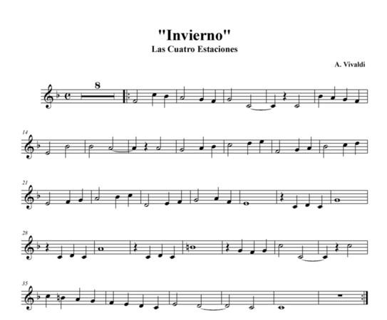 Resultat d'imatges de invierno partitura flauta